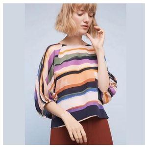 Anthro Maeve Multicolor Kimono Silk Stripe Blouse